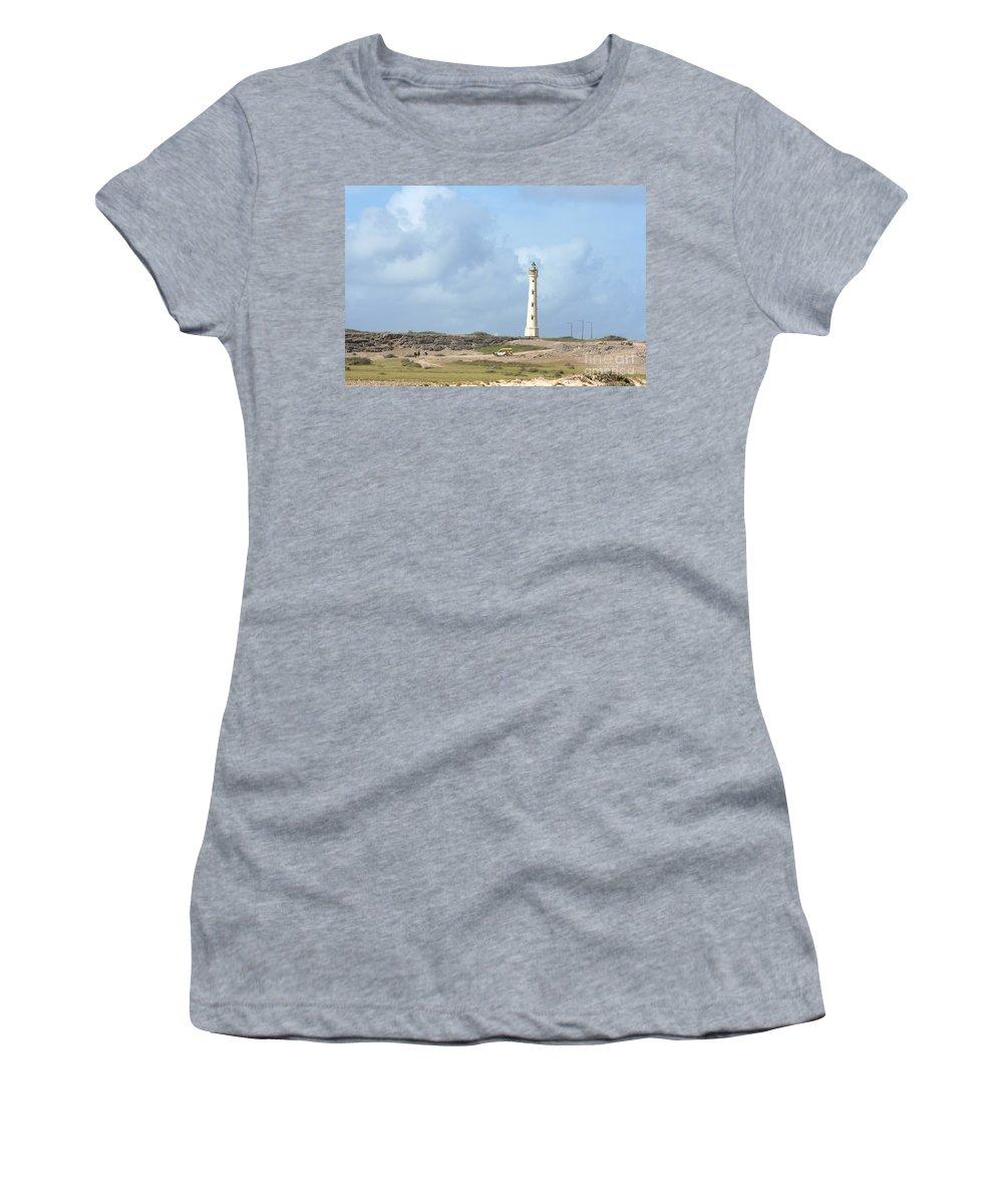 Aruba Women's T-Shirt featuring the photograph California Lighthouse by Thomas Marchessault
