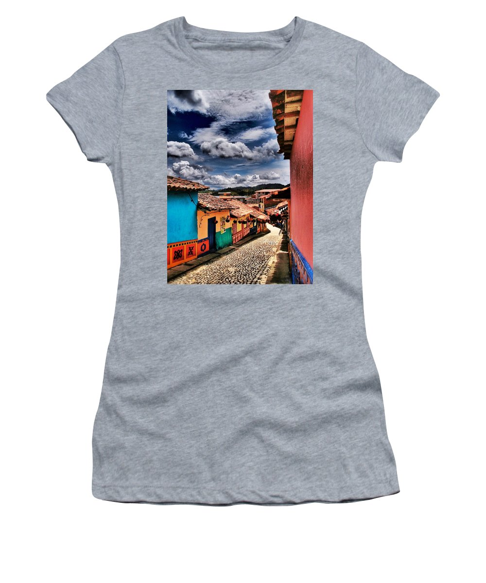 Calle De Colores Women's T-Shirt featuring the photograph Calle De Colores by Skip Hunt