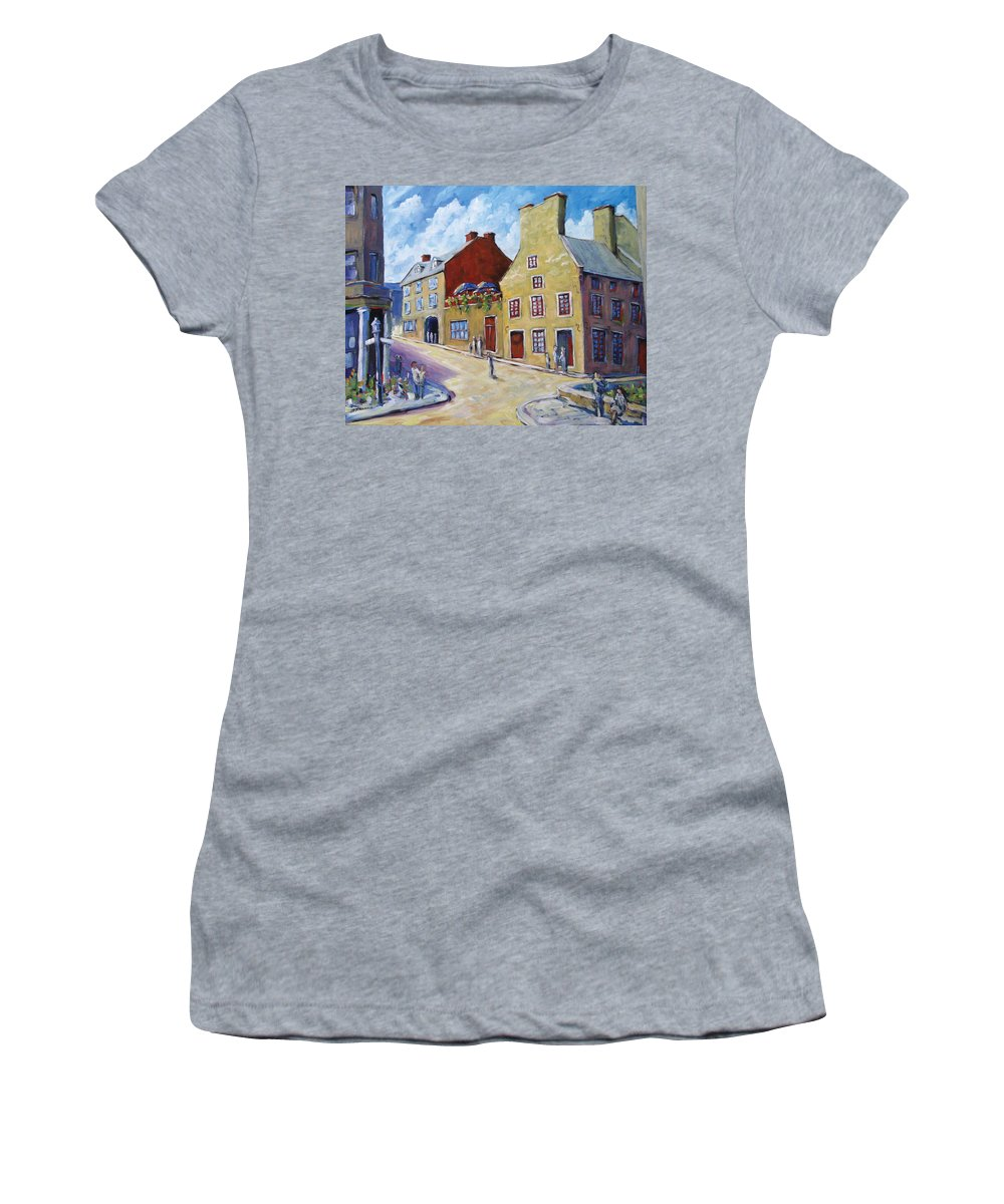 Rural Women's T-Shirt featuring the painting Calvet House Old Montreal by Richard T Pranke