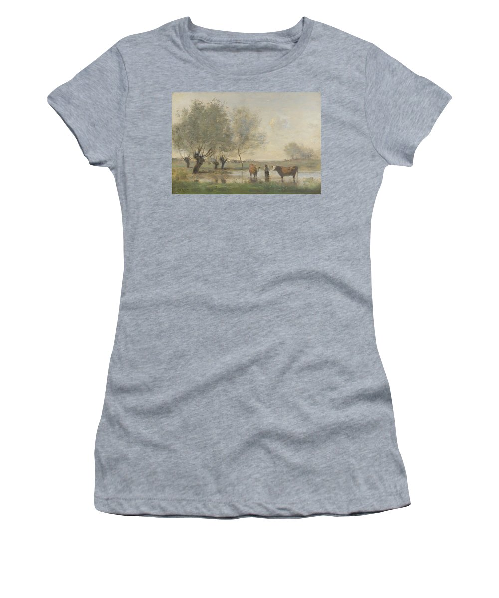 Jean Women's T-Shirt (Athletic Fit) featuring the digital art Camille Corot  Cows In A Marshy Landscape by PixBreak Art