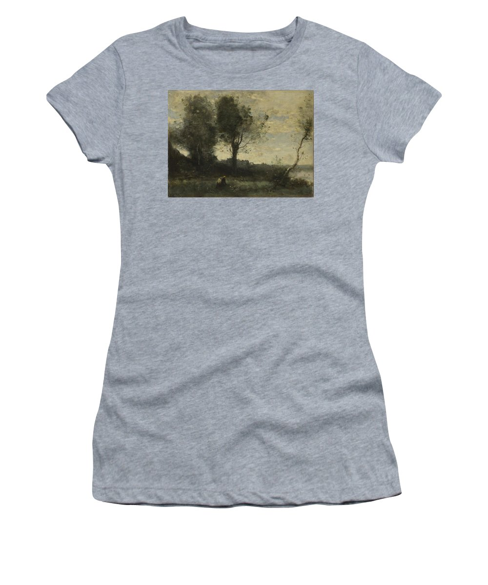 Jean Women's T-Shirt (Athletic Fit) featuring the digital art Camille Corot  The Wood Gatherer by PixBreak Art