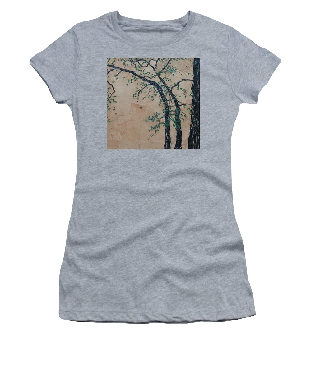 Leafy Tree Women's T-Shirt (Athletic Fit) featuring the painting Canandaigua Lake by Leah Tomaino