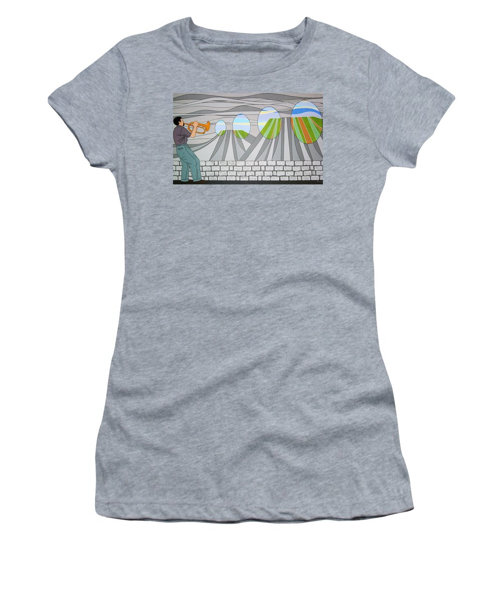 Trumpet Women's T-Shirt (Athletic Fit) featuring the painting Candy Lips by Patricia Van Lubeck