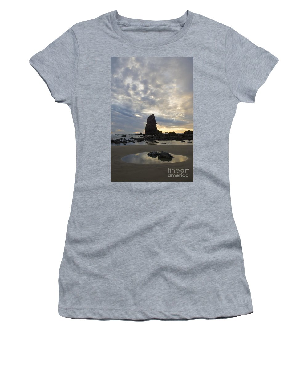 Cannon Beach Women's T-Shirt featuring the photograph Cannon Beach Sunset 1 by Bob Christopher