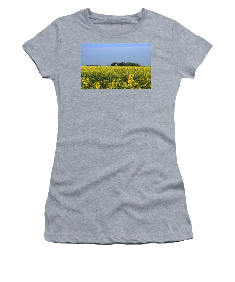 Canola Women's T-Shirt featuring the pyrography Canola Field by Steve K