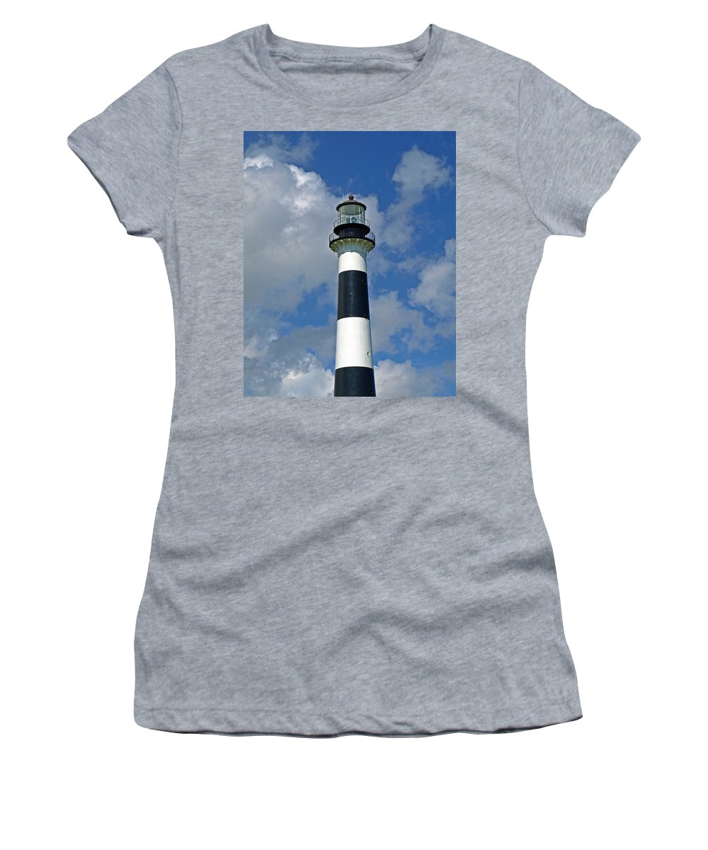 Lighthouse; Light; Canaveral; Cape; Cape Canaveral; Ccafs; Florida; East; Coast; Kennedy; Space; Cen Women's T-Shirt (Athletic Fit) featuring the photograph Canveral Light Florida by Allan Hughes