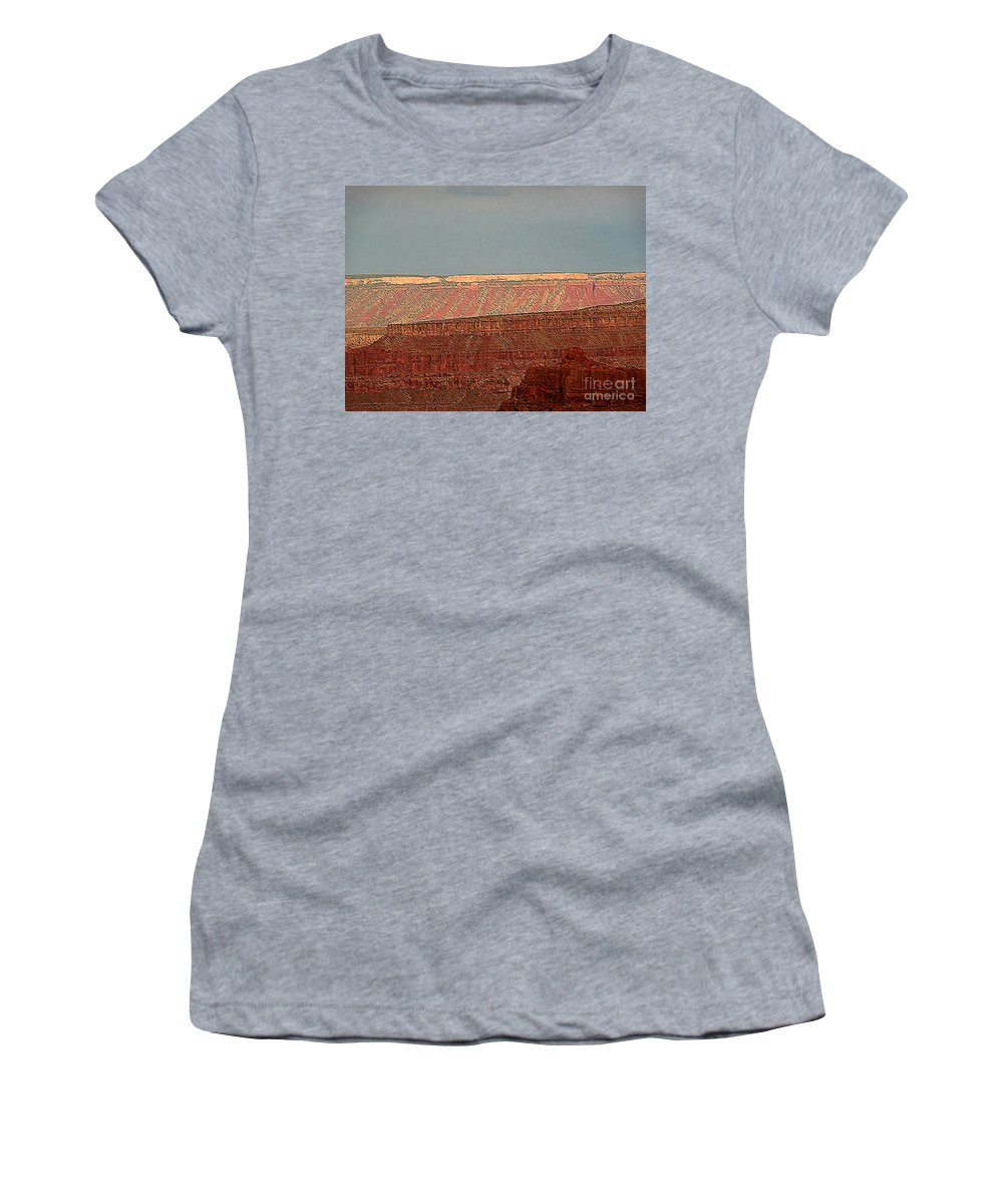Grand Canyon Women's T-Shirt featuring the photograph Canyon Rims by Angela L Walker