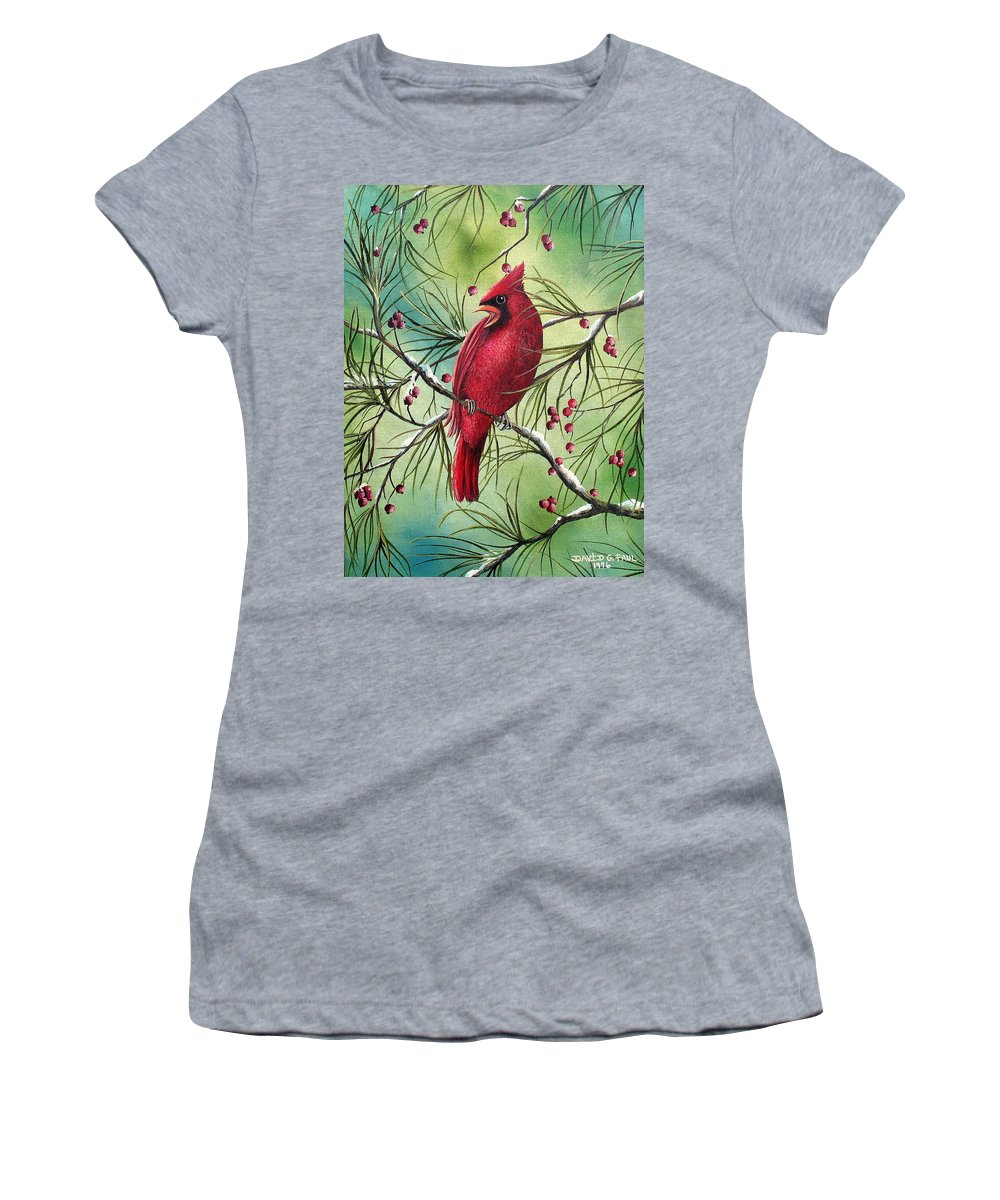 Cardinal Women's T-Shirt (Athletic Fit) featuring the painting Cardinal by David G Paul
