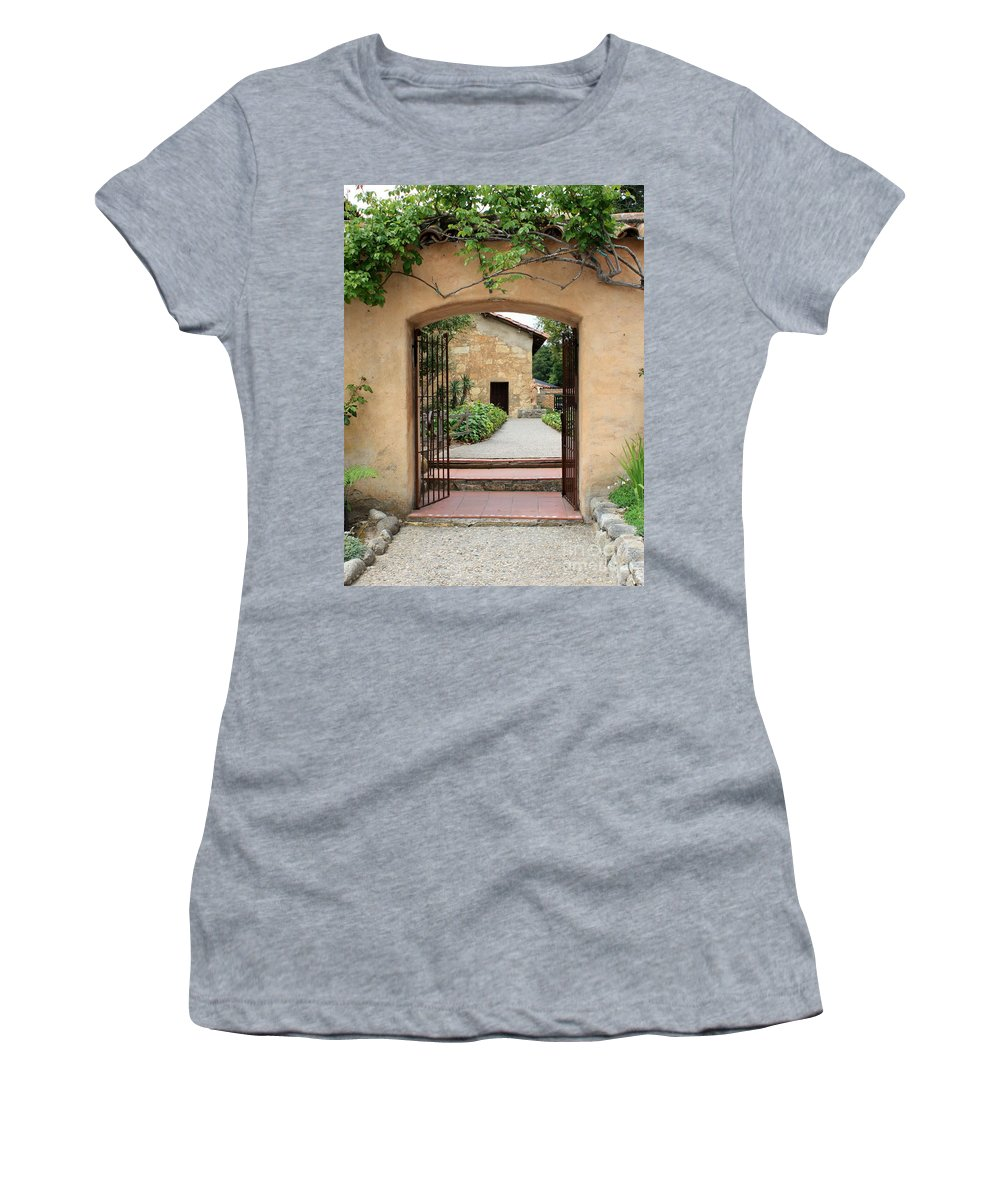 Carmel Mission Women's T-Shirt (Athletic Fit) featuring the photograph Carmel Mission Path by Carol Groenen