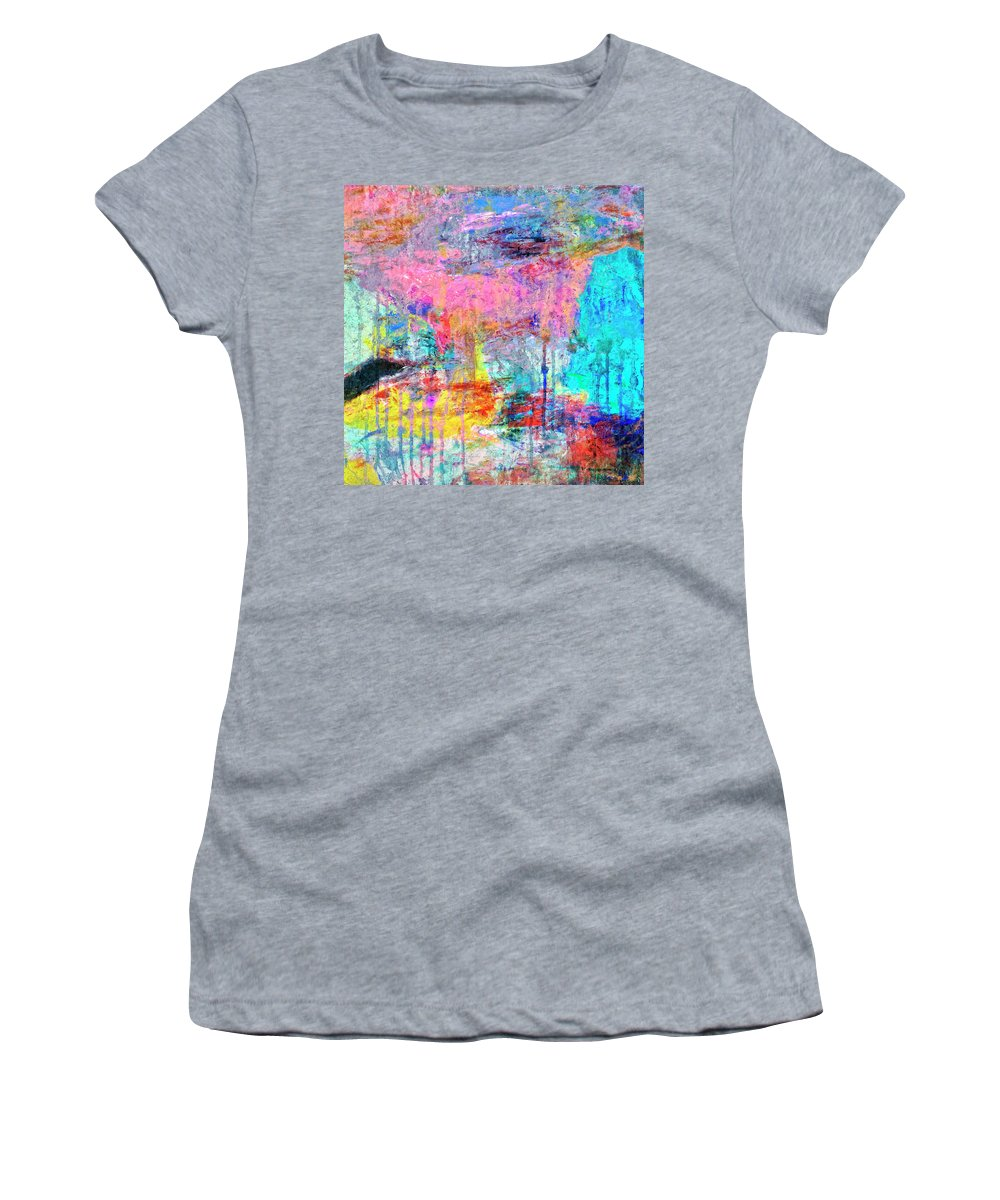 Abstract Women's T-Shirt (Athletic Fit) featuring the painting Carnival by Dominic Piperata