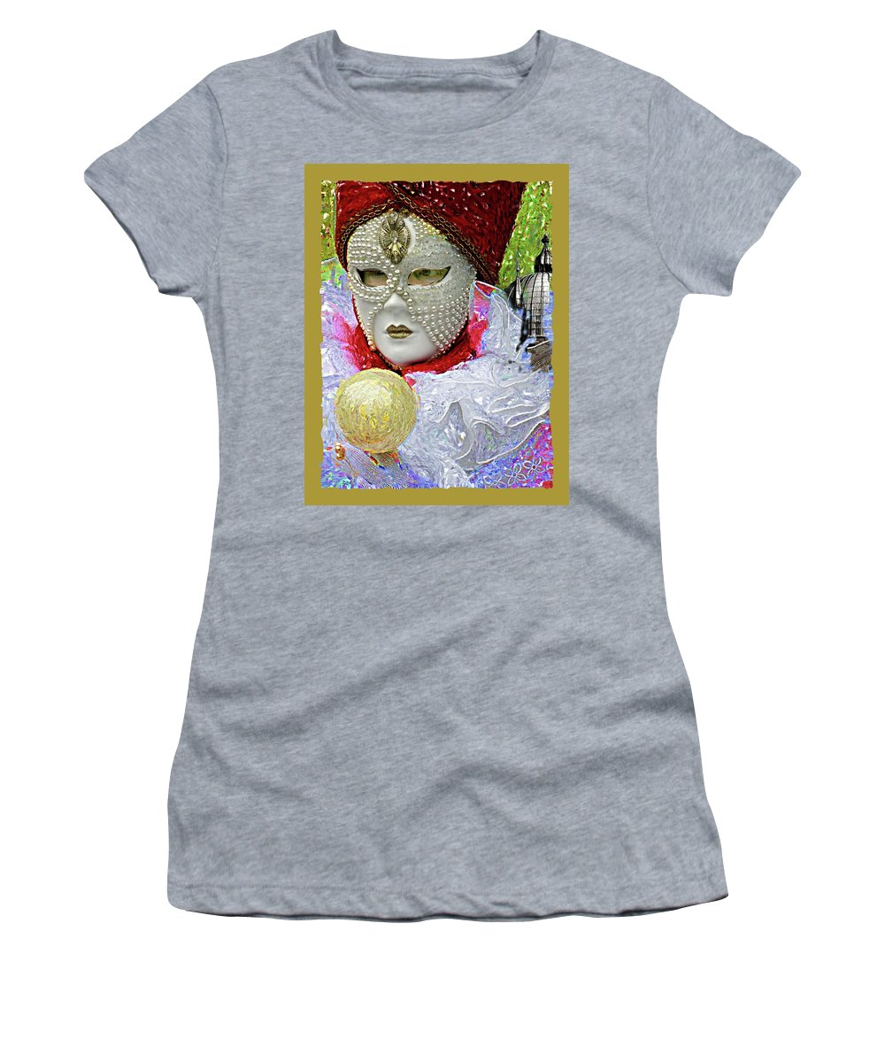 Venice Women's T-Shirt (Athletic Fit) featuring the digital art Carnivale Mask #10 by Charles Berman