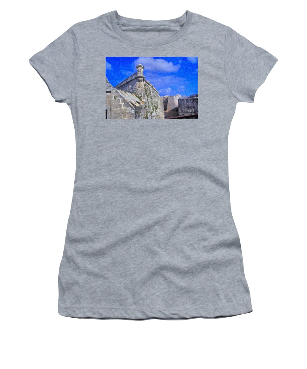 Castillo El Morro- Havana Women's T-Shirt featuring the photograph Castillo El Morro Havana Cuba by David Zanzinger