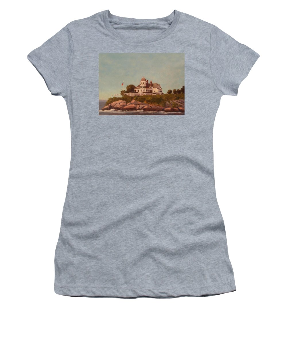 Castle Hill Newport Ri Women's T-Shirt (Athletic Fit) featuring the painting Castle Hill Newport Ri by Betty Ann Morris