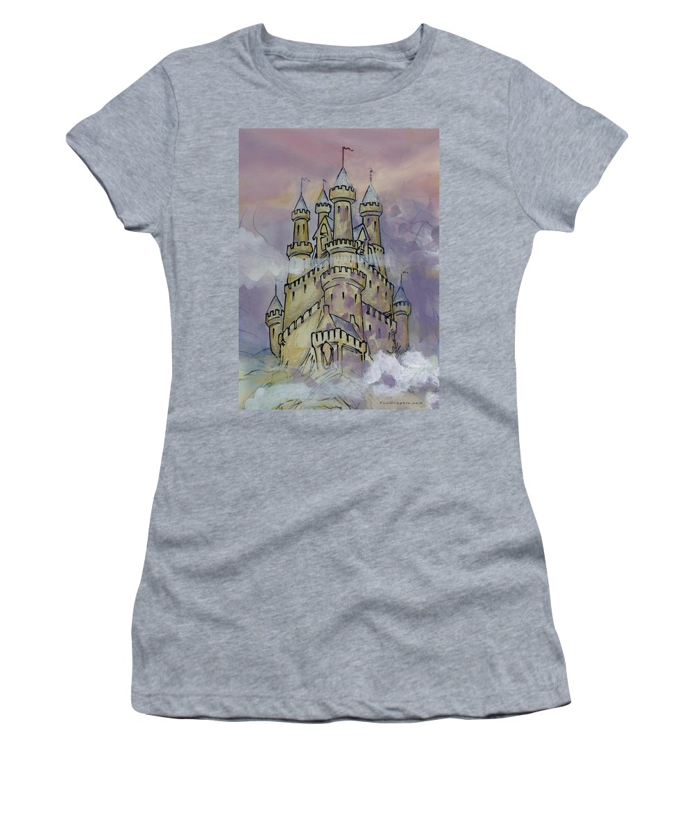 Castle Women's T-Shirt (Athletic Fit) featuring the greeting card Castle by Kevin Middleton