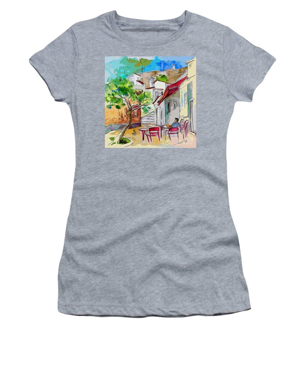 Castro Marim Portugal Algarve Painting Travel Sketch Women's T-Shirt (Athletic Fit) featuring the painting Castro Marim Portugal 01 Bis by Miki De Goodaboom