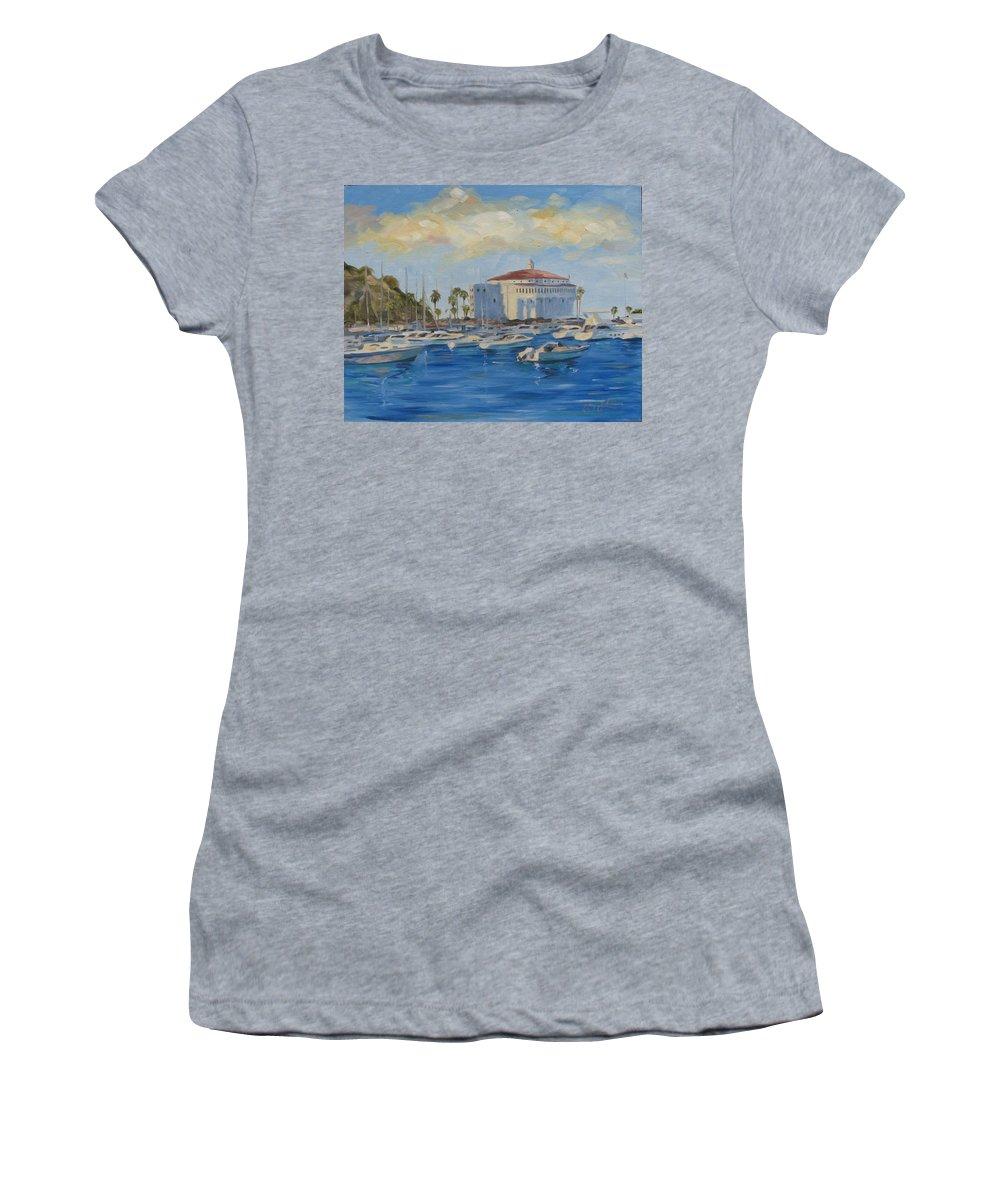 California Women's T-Shirt featuring the painting Catallina Casino by Jay Johnson