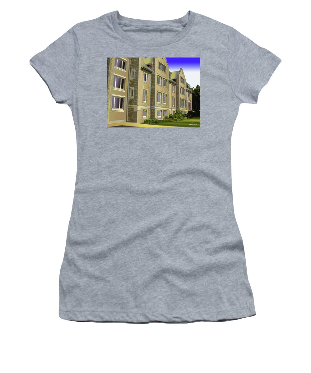 Catonsville Women's T-Shirt featuring the digital art Catonsville United Methodist Church by Stephen Younts