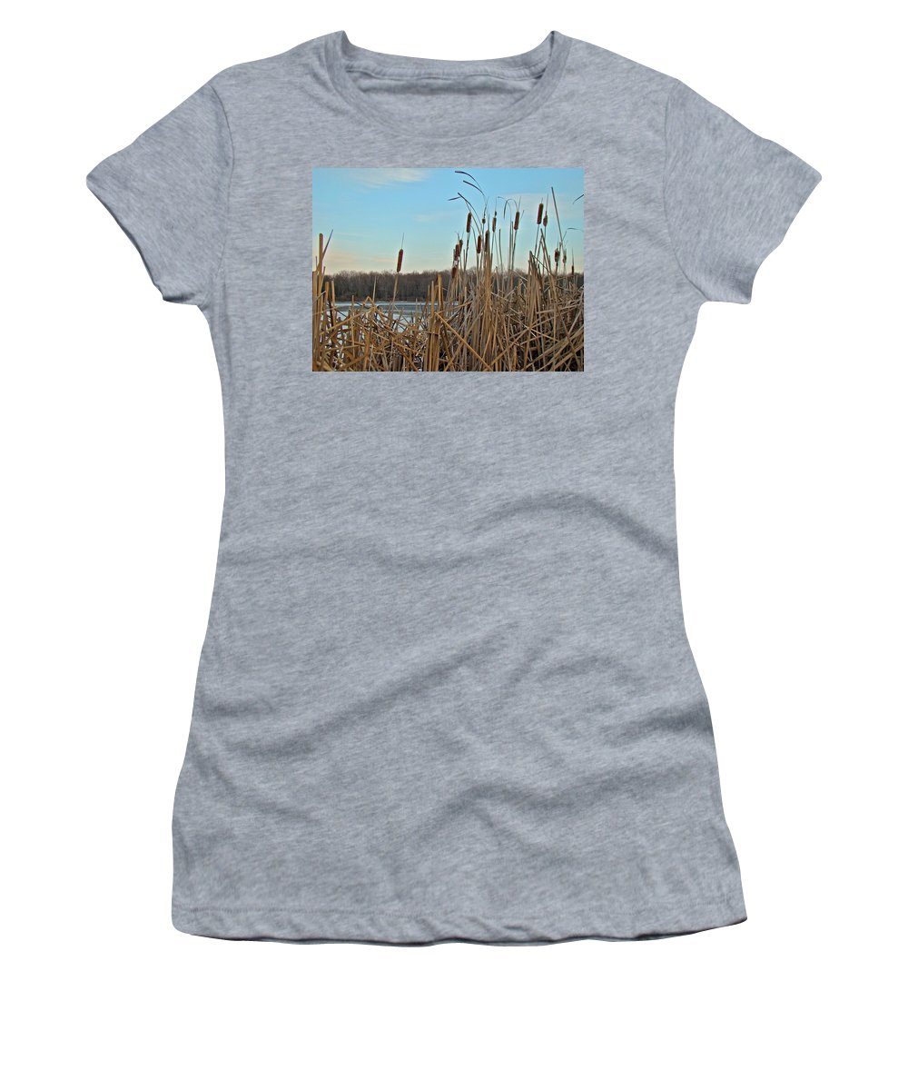 Cattails Women's T-Shirt (Athletic Fit) featuring the photograph Cattails At Skymount Pond Pa by Mother Nature