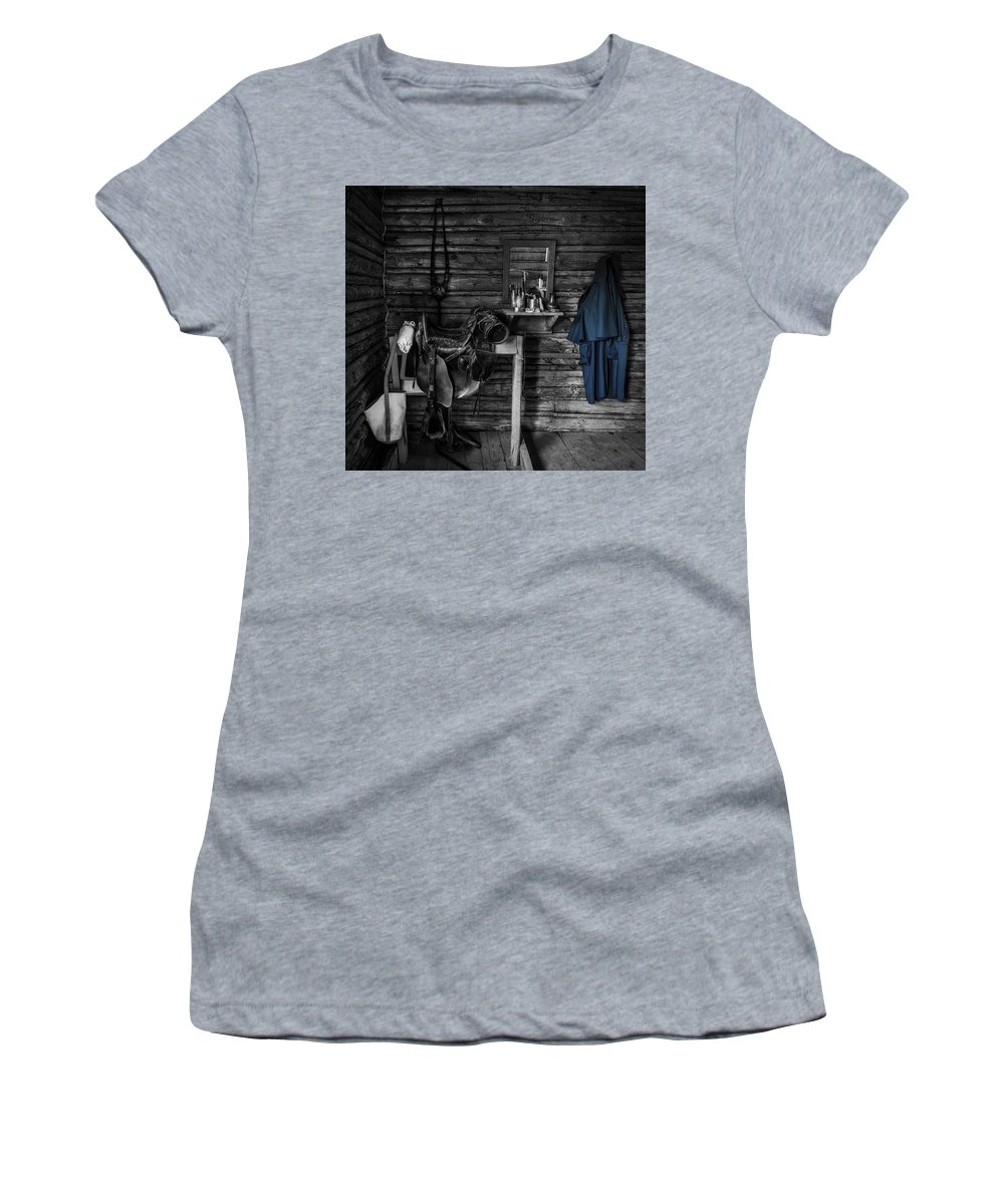 United States Cavalry Women's T-Shirt (Athletic Fit) featuring the photograph Cavalry Bunkhouse by Mountain Dreams