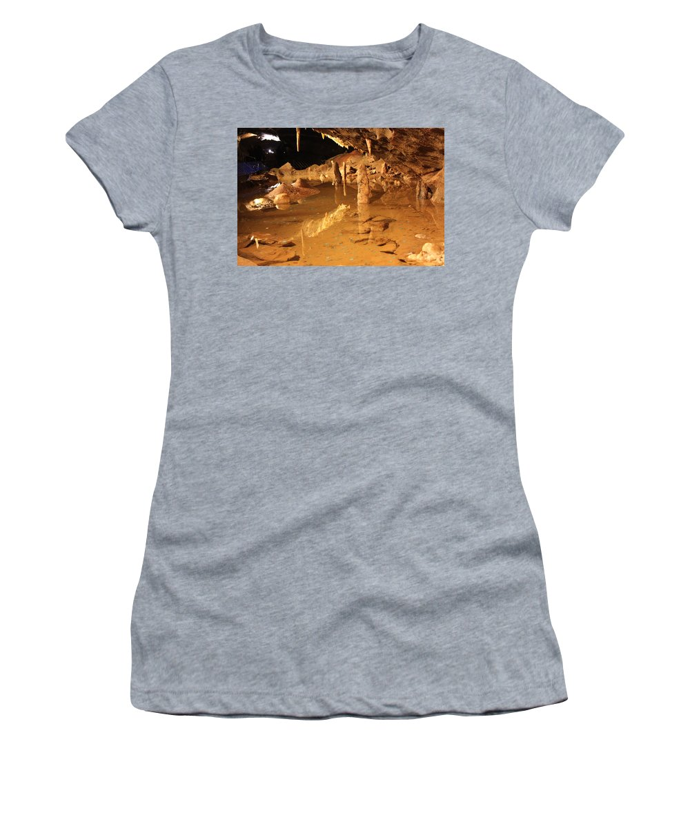Cave Women's T-Shirt (Athletic Fit) featuring the photograph Cave Reflections by Lauri Novak