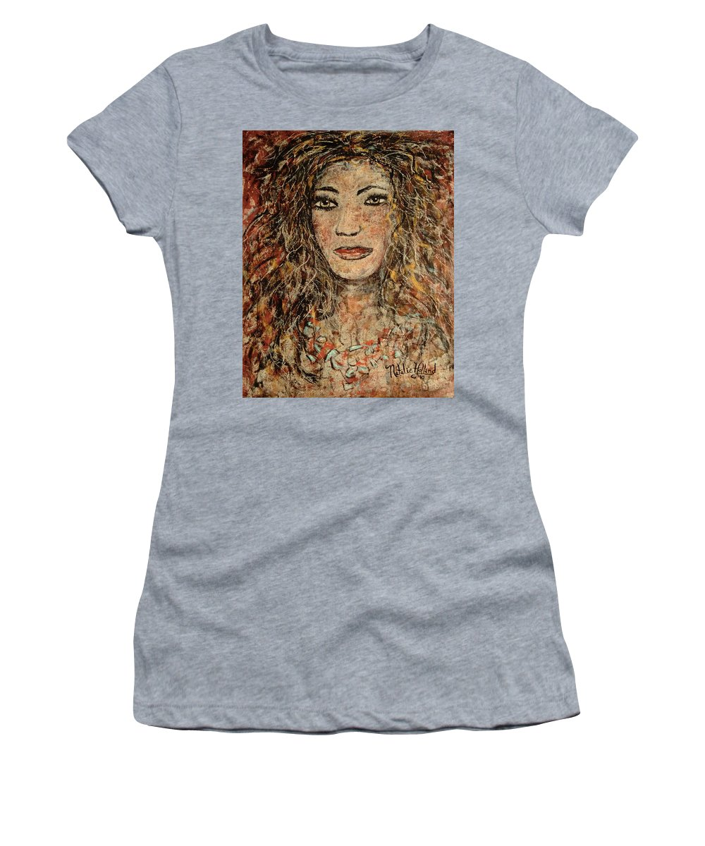 Cave Woman Women's T-Shirt (Athletic Fit) featuring the painting Cave Woman by Natalie Holland