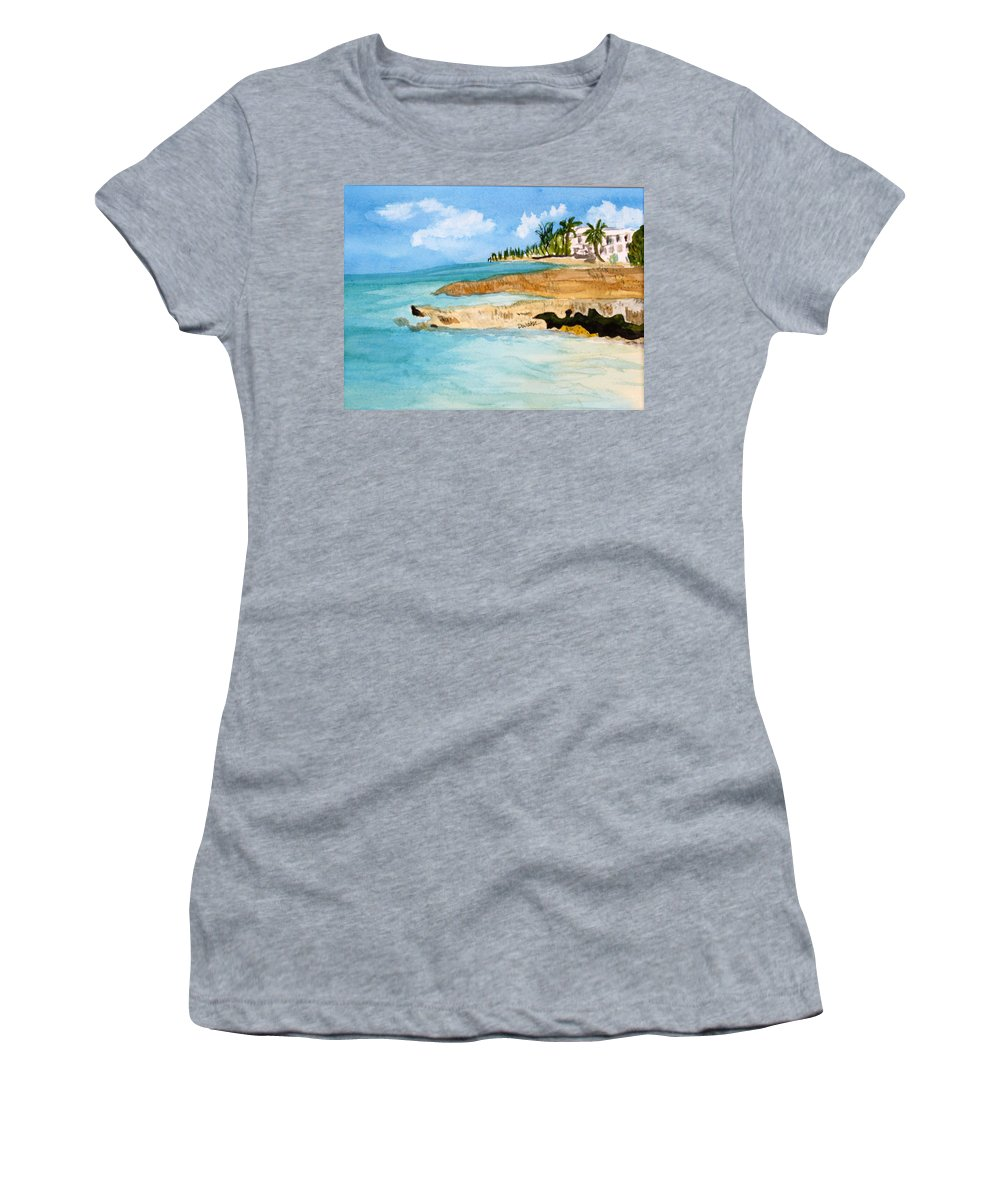 Shore Cayman Women's T-Shirt (Athletic Fit) featuring the painting Cayman Shoreline by Donna Walsh