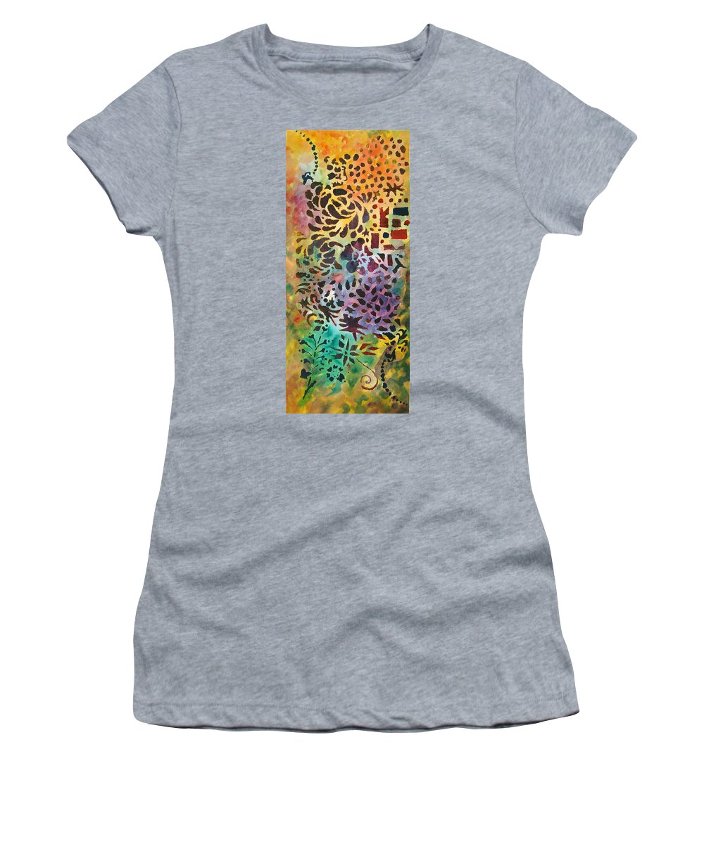 Abstract Women's T-Shirt featuring the mixed media Celebration Day - 1/2 Diptych by Karen Coggeshall