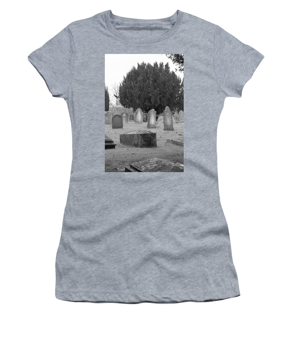 Cemetery Women's T-Shirt (Athletic Fit) featuring the photograph Cemetery Church Of St. Mary Wedmore by Lauri Novak