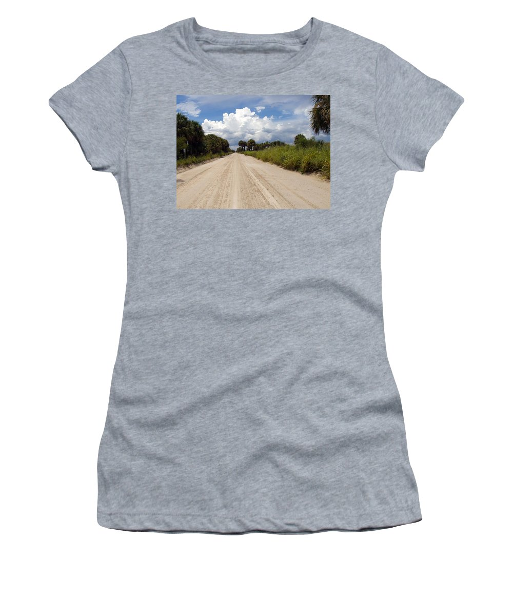 Florida; Road; Back; Backroad; Central; Dirt; Plow; Plowed; Clay; Mud; Muddy; Places; Unknown; Trave Women's T-Shirt featuring the photograph Central Florida Back Road by Allan Hughes