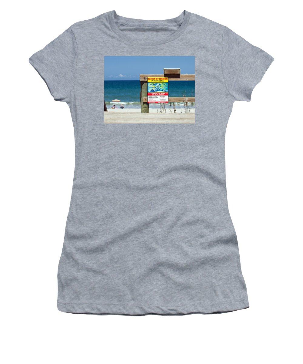 Florida; Beach; Surf; Surfing; Shore; Coast; Sand; Sandy; Waves; Summer; Central; Melbourne; Rip; Cu Women's T-Shirt featuring the photograph Central Florida Beach Warning by Allan Hughes