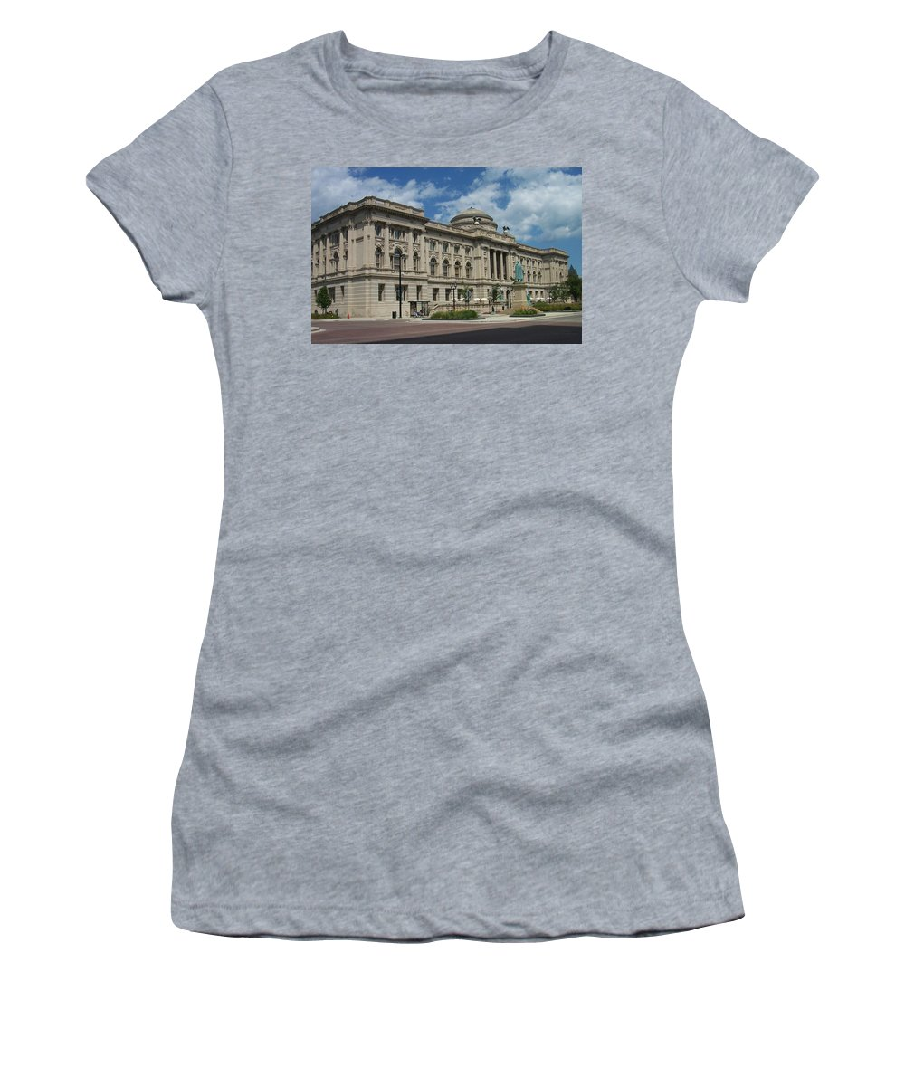 Central Library Women's T-Shirt (Athletic Fit) featuring the photograph Central Library Milwaukee Full View by Anita Burgermeister