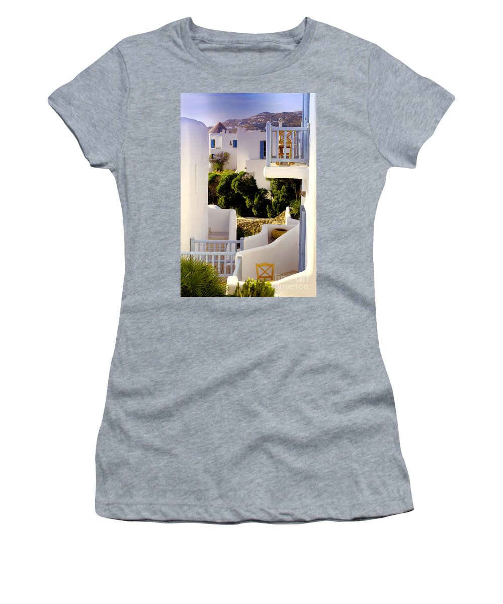 Mykonos Women's T-Shirt (Athletic Fit) featuring the photograph Chair On Balcony In Mykonos by Madeline Ellis