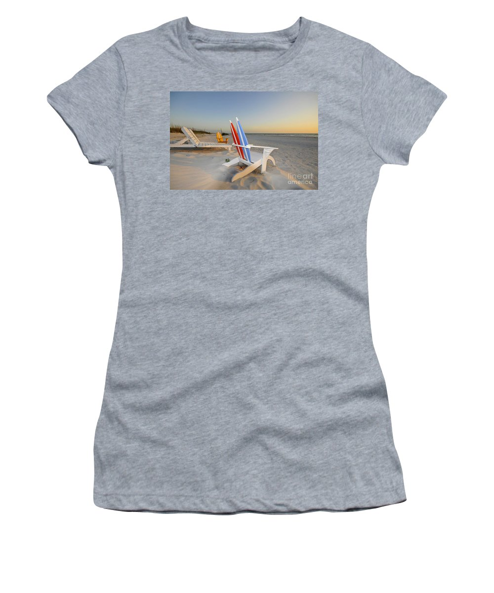 Beach Chairs Women's T-Shirt (Athletic Fit) featuring the photograph Chairs On The Beach by David Lee Thompson