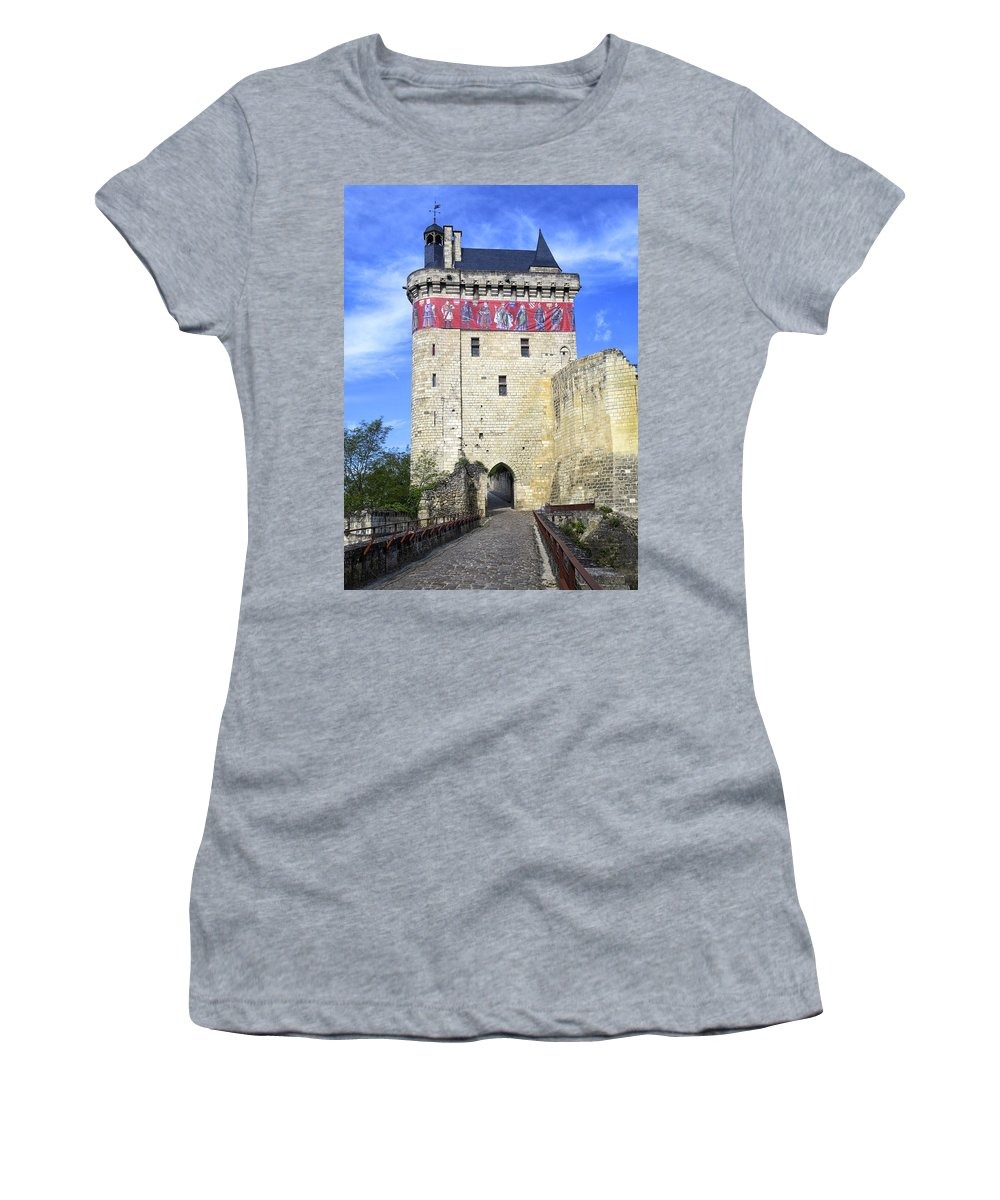 Chinon Women's T-Shirt featuring the photograph Chateau De Chinon by Dave Mills