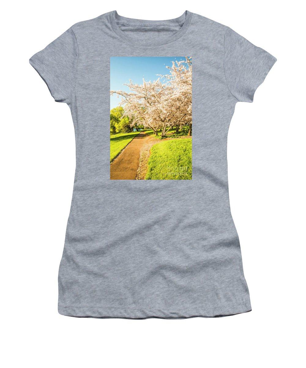 Green Women's T-Shirt featuring the photograph Cherry Blossom Lane by Jorgo Photography - Wall Art Gallery