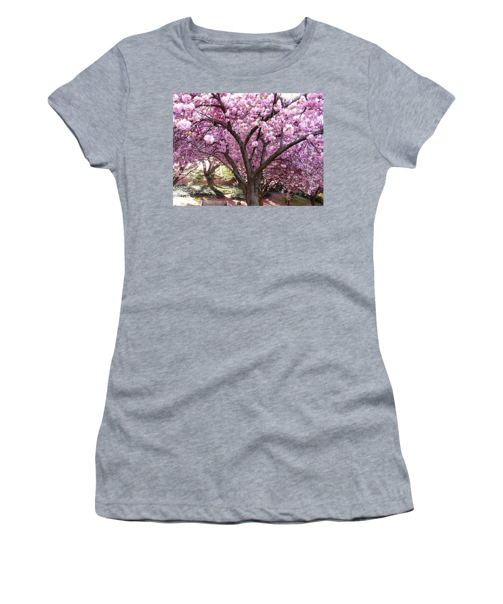 Cherry Blossom Women's T-Shirt (Athletic Fit) featuring the photograph Cherry Blossom Wonder by Kendall Eutemey