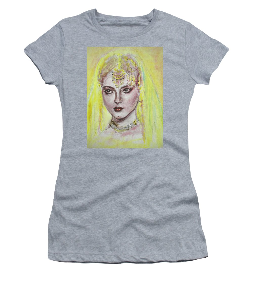 Bollywood Women's T-Shirt (Athletic Fit) featuring the painting Cherry Lips by Usha Shantharam