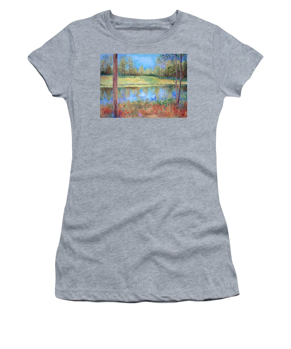 Ponds Women's T-Shirt (Athletic Fit) featuring the painting Cherry Moon Pond by Ginger Concepcion