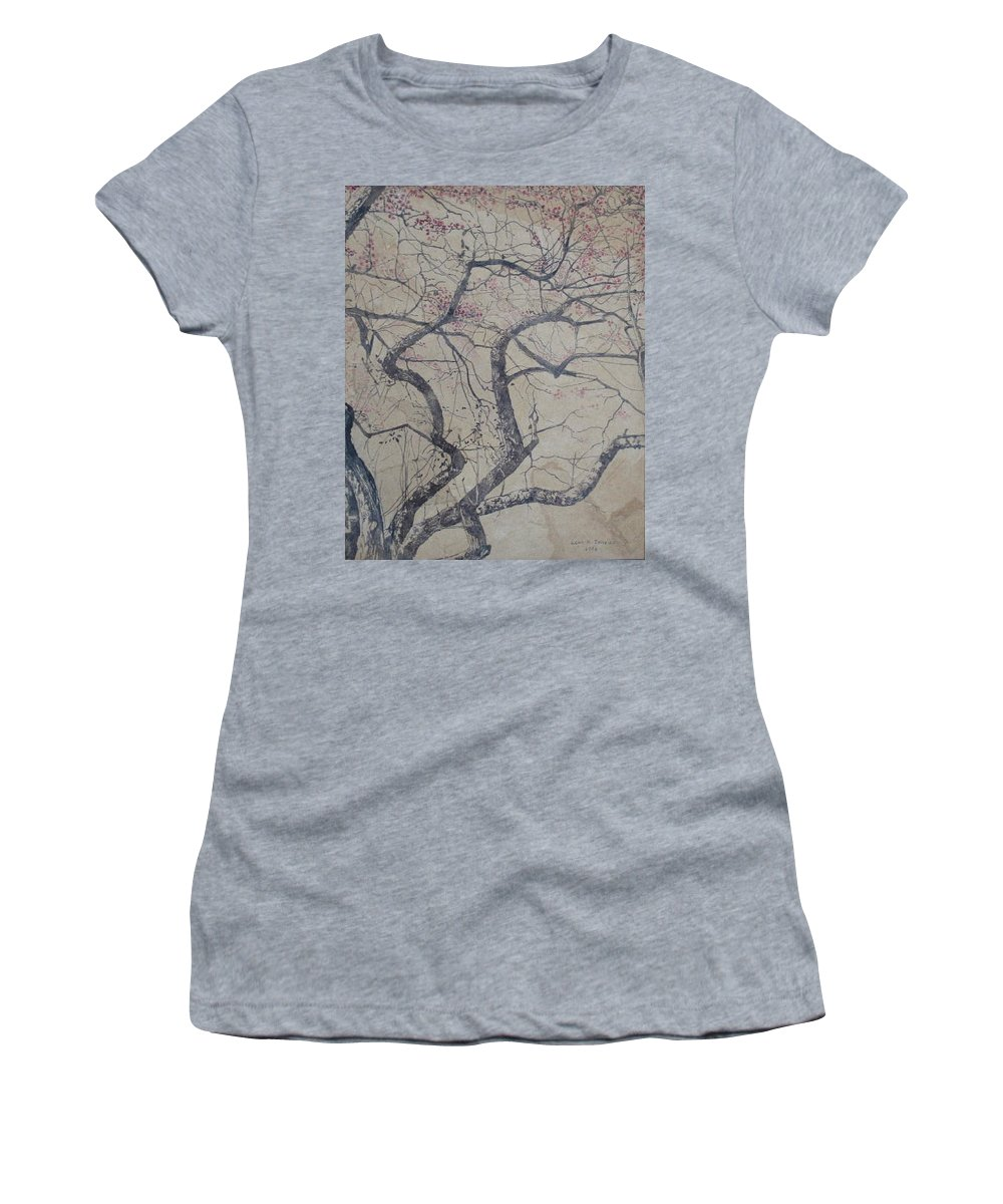 Crab Apple Women's T-Shirt (Athletic Fit) featuring the painting Prairie Fire by Leah Tomaino