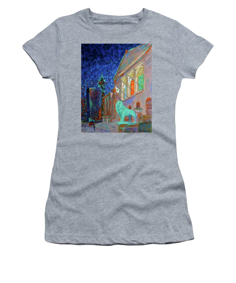 Chicago Art Institute Women's T-Shirt (Athletic Fit) featuring the painting Chicago Art Institute by J Loren Reedy