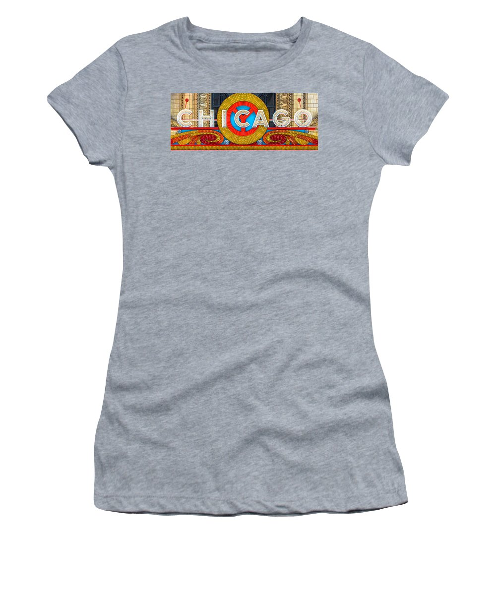 Women's T-Shirt (Athletic Fit) featuring the photograph Chicago Theatre Sign V3crop Details Dsc2176 by Raymond Kunst