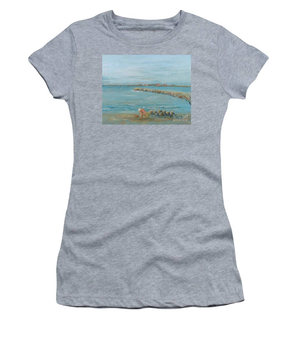 Beach Women's T-Shirt featuring the painting Child Playing at Provence Beach by Nadine Rippelmeyer