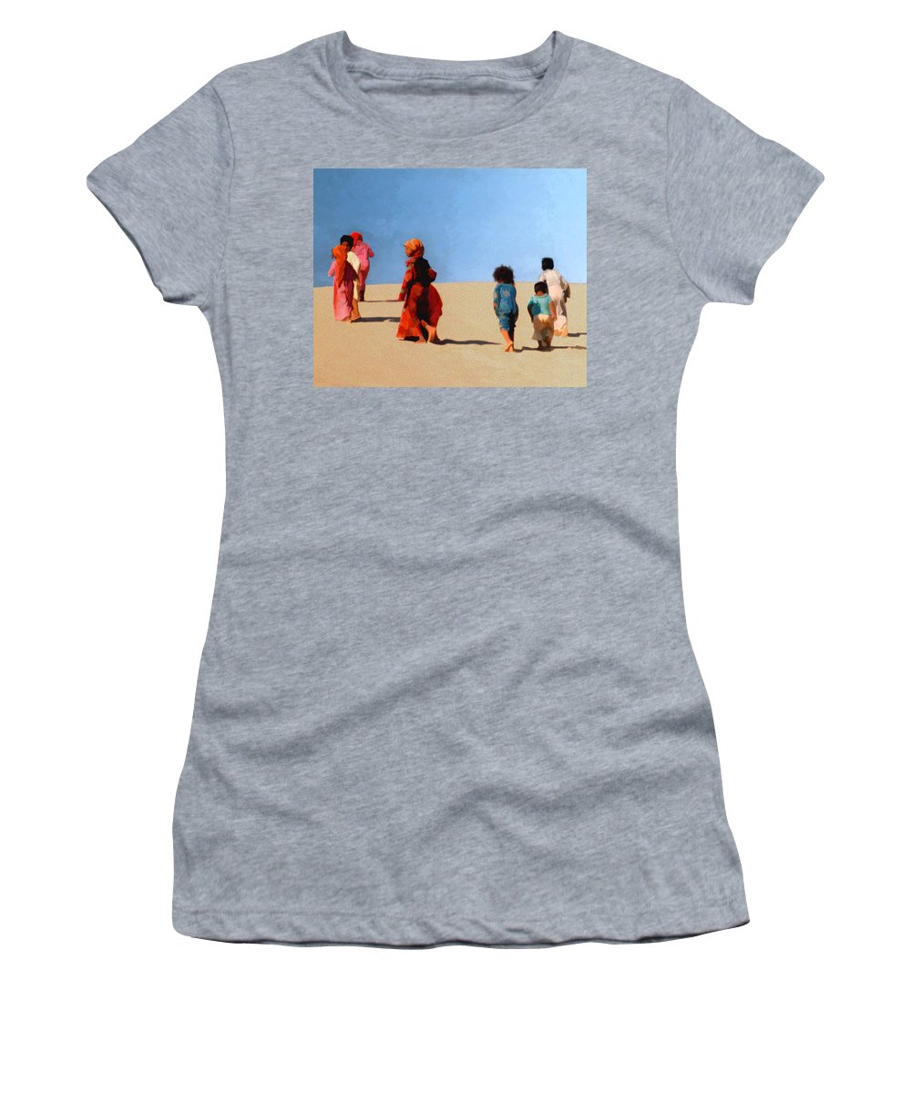 Children Women's T-Shirt (Athletic Fit) featuring the photograph Children Of The Sinai by Kurt Van Wagner