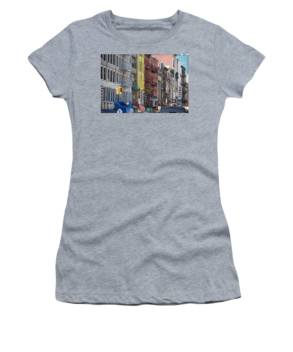 Architecture Women's T-Shirt (Athletic Fit) featuring the photograph Chinatown Walk Ups by Rob Hans
