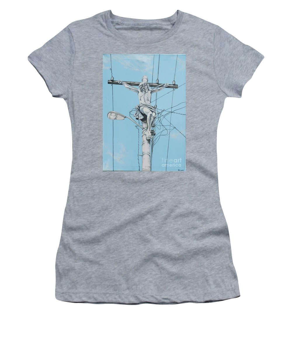 Christ From Mexico Women's T-Shirt (Athletic Fit) featuring the painting Christ From Mexico by Sonia Nieder