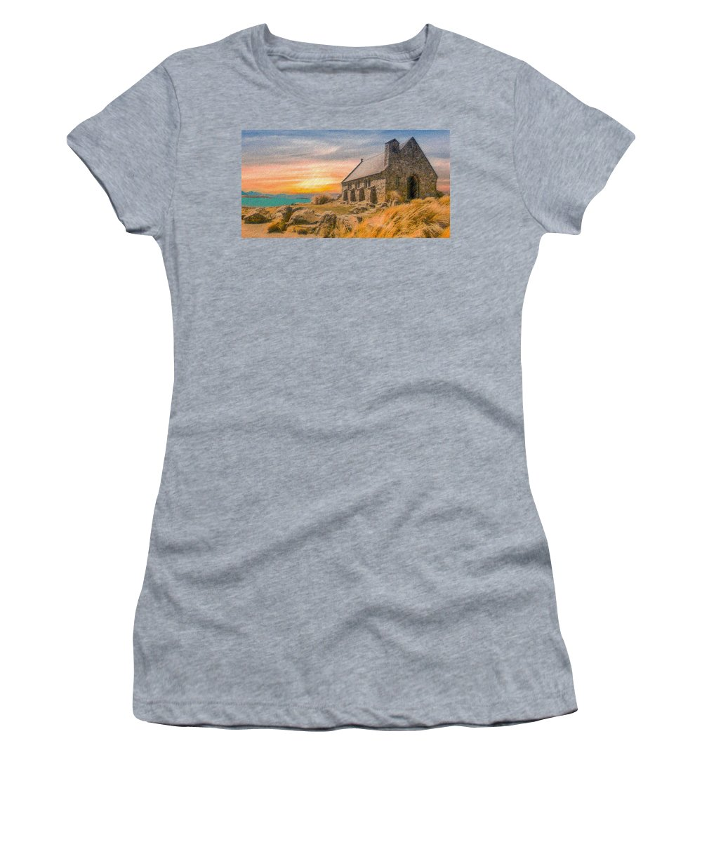 Church Women's T-Shirt (Athletic Fit) featuring the digital art Church On The Hill by CR Beaumont