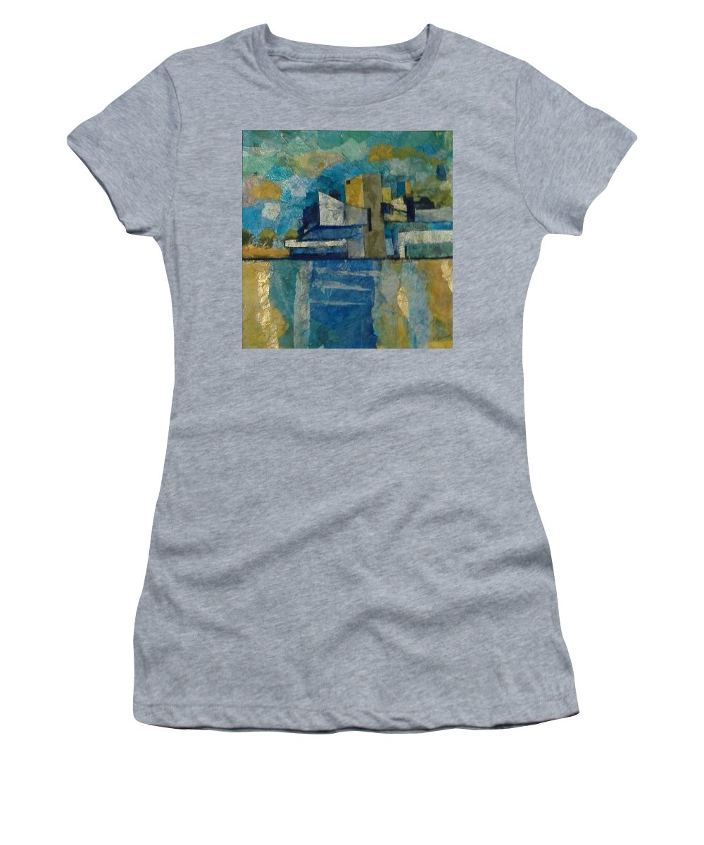 Women's T-Shirt featuring the mixed media City In Harmony by Pat Snook