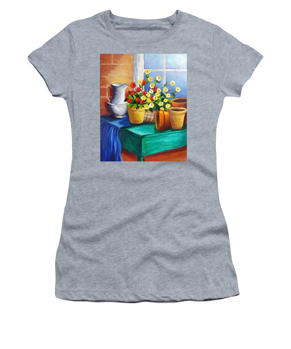Still Life Women's T-Shirt featuring the painting Clay Pots by Rosie Sherman