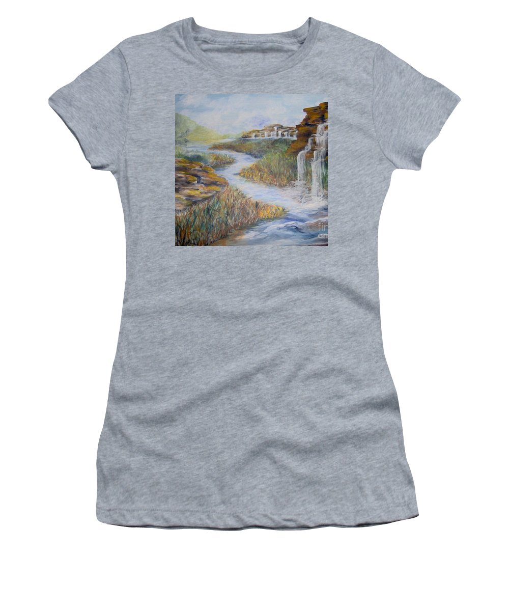 Waterfall Women's T-Shirt (Athletic Fit) featuring the painting Cleansing by Saundra Johnson