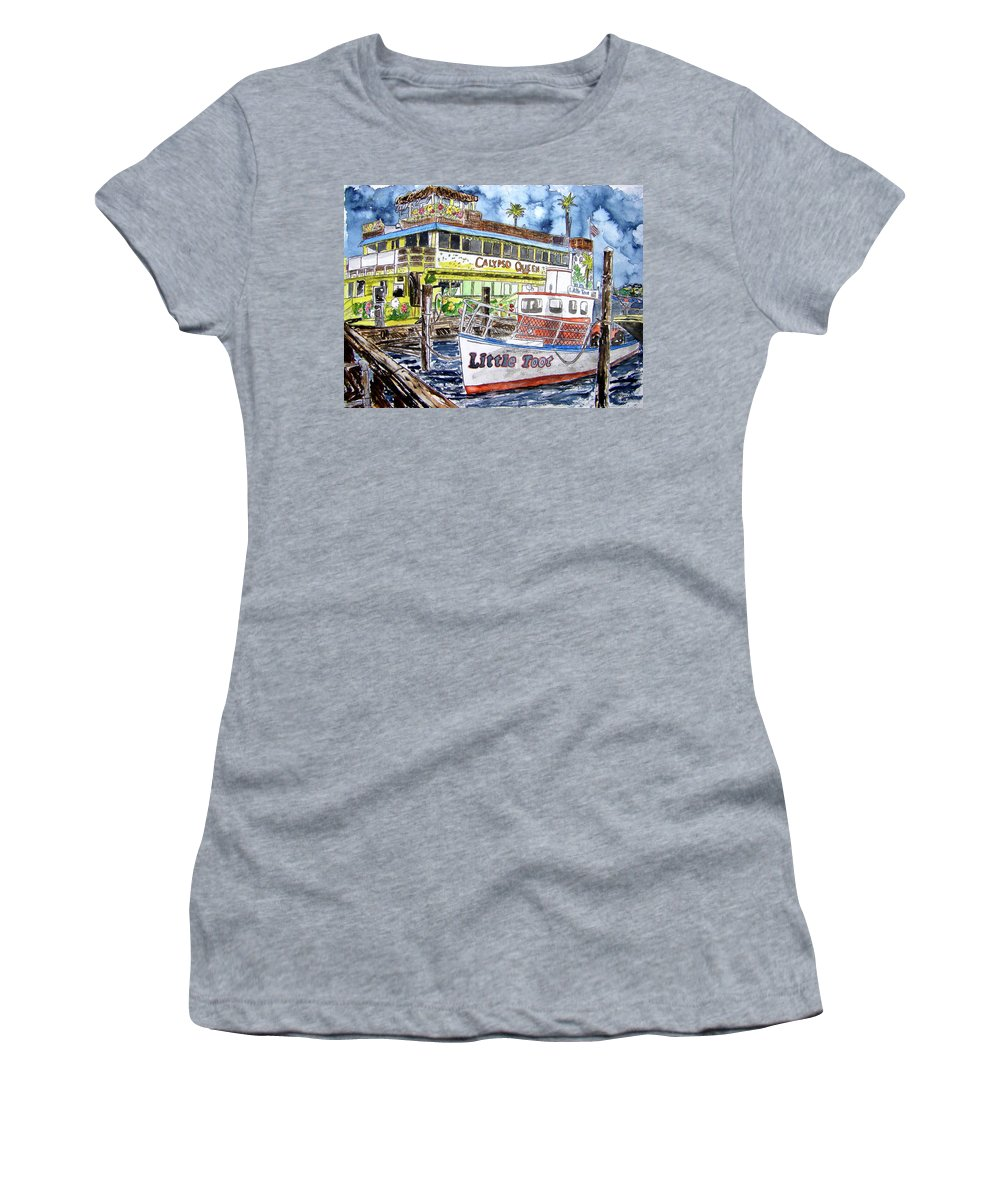 Seascape Women's T-Shirt (Athletic Fit) featuring the painting Clearwater Florida Boat Painting by Derek Mccrea